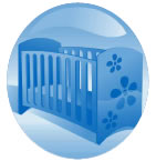 A baby's cradle is shown surrounded by a blue bubble.