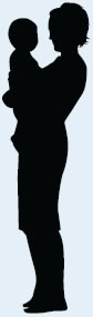 A woman holding a child in her arms is shown in silhouette.