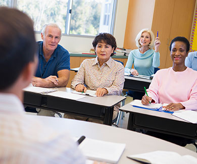 Adult students in a training session
