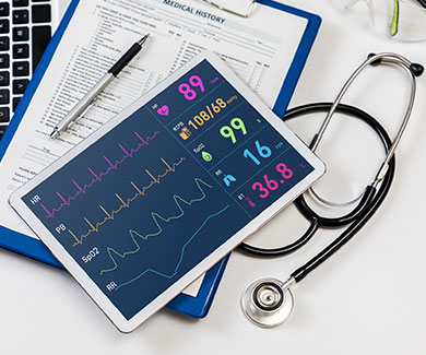 Diagnostic safety tools including a tablet, chart and stethoscope