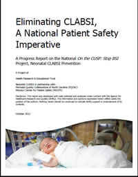 Title page of the Neonatal CLABSI Prevention report