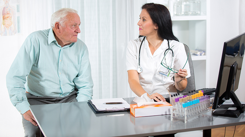 Patient consults with a doctor