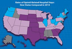The nation's opioid epidemic resulted in a 64% rise in opioid-related hospital stays from 2005-2014.However,hospital rates varied widely by state in 2014,ranging from 404 opioid-related stays per 100,000 people in MD to 73 per 100,000 in IA.The map shows states with the highest and lowest 2014 rates. States with the highest rates include: CT,DC,IL,ME,MD,MA,NY,OH,ORm RI,WA and WV. States with the lowest rates include: AR,GA,HI,IA,KS,LA,NE,OK,SC,SD,TX,and WY.No data were available for AL,AK,DE,ID,MS,or NH.