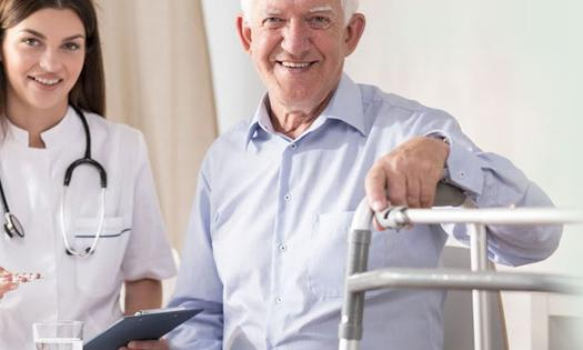 Doctor and patient with walker