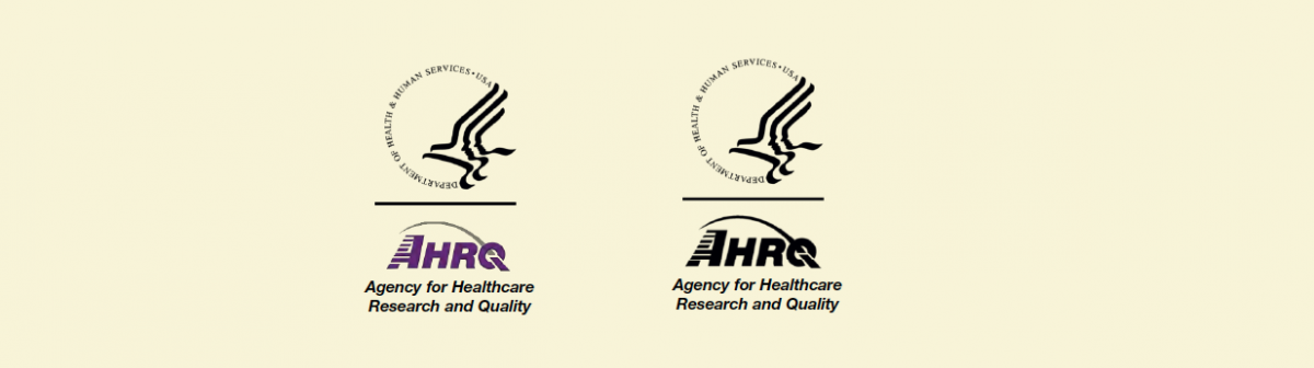 Two examples of the AHRQ logo in vertical placement are shown, one in color and one in black and white. In both examples, the Agency's tagline is centered below the logo.