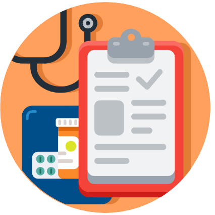Icon with checklist on a clipboard and stethoscope in background