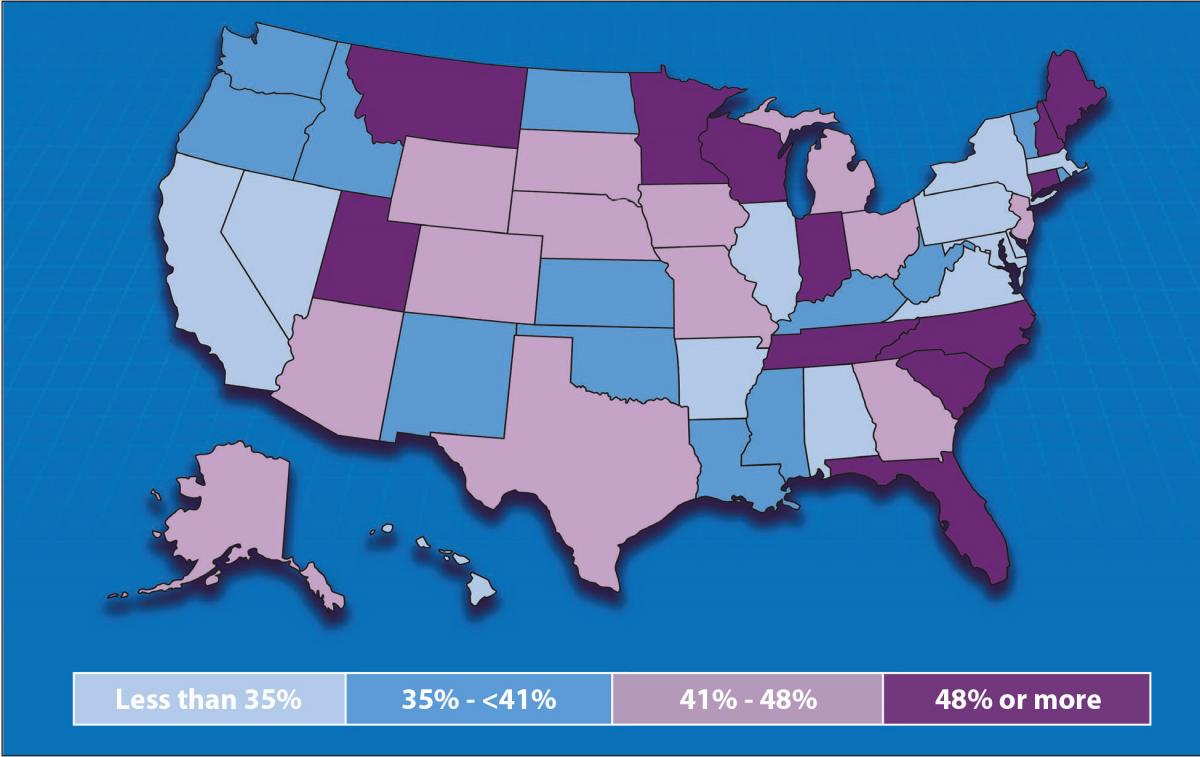U.S. map showing percent of private-sector employees enrolled in an employment-based high deductible health insurance plan, by quartiles.
