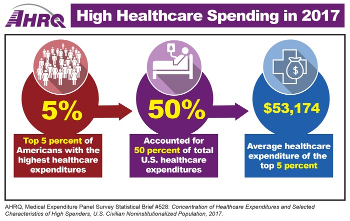 High Healthcare Spending in 2017: Top 5 percent of Americans with the highest healthcare expenditures accounted for 50 percent of total U.S. healthcare expenditures.