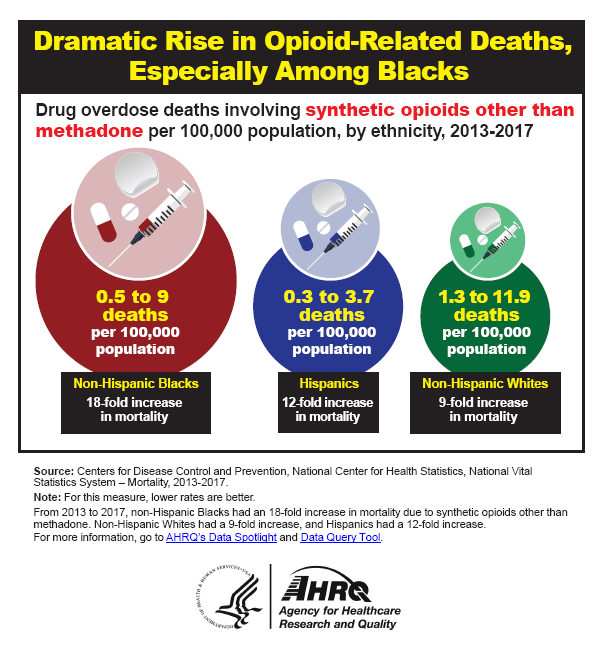 Graphic showing Dramatic Rise in Opoid-Related Deaths, Especially Among Blacks Drug overdose deaths involving synthetic opioids other than methadone per 100,000 population, by ethnicity, 2013-2017: Non-Hispanic Blacks, 0.5 to 9 deaths per 100,000 population, an 18-fold increase; Hispanics, 0.3 to 3.7 deaths per 100,000 population, a 12-fold increase; Non-Hispanic Whites, 1.3 to 11.9 deaths per 100,000 population, a 9-fold increase. Note: For this measure, lower rates are better.From 2013 to 2017, non-Hispanic Blacks had an 18-fold increase in mortality due to synthetic opioids other than methadone. Non-Hispanic Whites had a 9-fold increase, and Hispanics had a 12-fold increase.