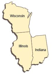 Wisconsin, Illinois, and Indiana on a map of the United States.