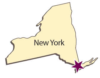 A map showing New York City.