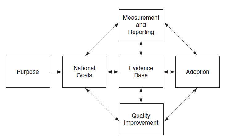 The conceptual framework is presented as a series of boxes, beginning on the left with 'Purpose'; an arrow points to the next box to the right, 'National Goals.' Double-headed arrows point back and forth between 'National Goals' and three boxes stacked one above the other to its right: 'Measuring and Reporting,' 'Evidence Base' and 'Quality Improvement.' Double-headed arrows also point between 'Evidence Base' and the boxes above and below it. The last box on the far right side of the framework is 'Adoption'; double-headed arrows point back and forth between this box and 'Measuring and Reporting,' 'Evidence Base' and 'Quality Improvement.'