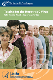 "Cover of ""Testing for the Hepatitis C Virus"" consumer summary, with half a dozen men and women lined up facing forward."
