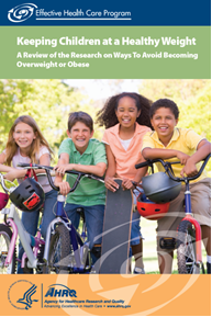 "Cover of ""Keeping Children at a Healthy Weight"" consumer summary, with four children with bikes, helmets, and skateboards."