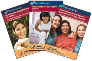 Three new Spanish-language consumer summaries are now available on low bone density, chronic pelvic pain, and urinary incontinence.