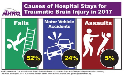 Causes of Hospital Stays for Traumatic Brain Injury in 2017: Falls - 52%, Motor Vehicle Accidents - 24%, Assaults - 5%.