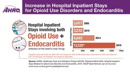 Increase in Hospital Stays for Opioid Use Disorders and Endocarditis: 2005, 3000; 2010, 3232; 2014, 6685; 2016, 13,125.