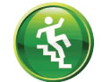 Icon shows a person falling down stairs.