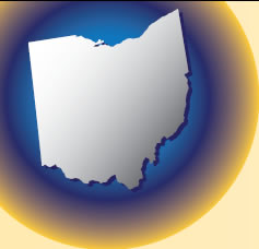 Icon: The state of Ohio enlarged on a globe.