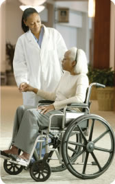 Patient on a wheelchair.