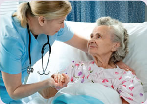 Image of Woman Doctor with Elderly Patient