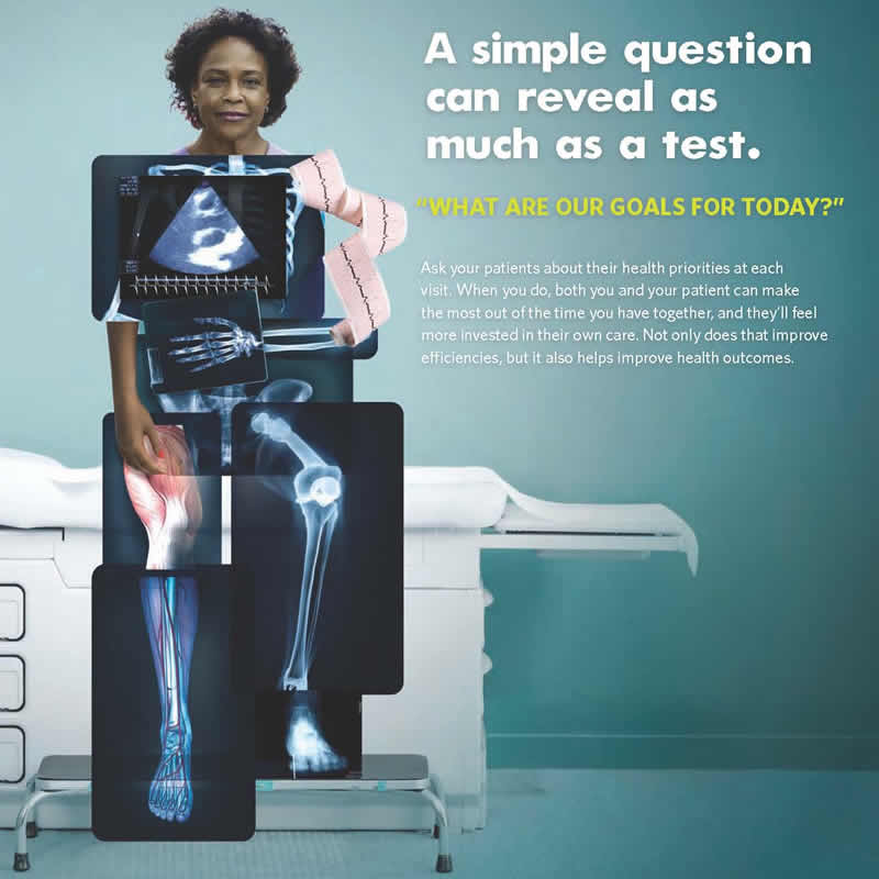 A woman is sitting on an examination table in a medical office. Her face is showing, but her body is composed of different medical test results, including x-rays, a heart rate printout, and an ultrasound image. The message the image conveys is that while doctors can learn a lot about a patient's health from test results, they can also learn a lot by asking the patient questions.