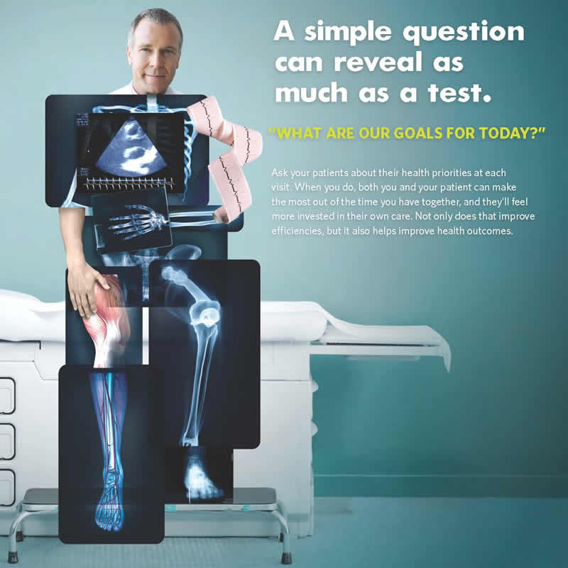 A man is sitting on an examination table in a medical office. His face is showing, but his body is composed of different medical test results, including x-rays, a heart rate printout, and an ultrasound image. The message the image conveys is that while doctors can learn a lot about a patient's health from test results, they can also learn a lot by asking the patient questions.