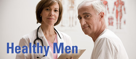 Health Men Tagline: Female Doctor and Male Patient