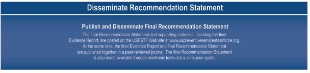 Disseminate Recommendation Statement. Publish and Disseminate Final Recommendation Statement. The final Recommendation Statement and supporting materials, including the final Evidence Report, are posted on the USPSTF Web site at www.uspreventiveservicestaskforce.org. At the same time, the final Evidence Report and final Recommendation Statement are published together in a peer-reviewed journal. The final Rec Statement is also made available through electronic tools and a consumer guide.
