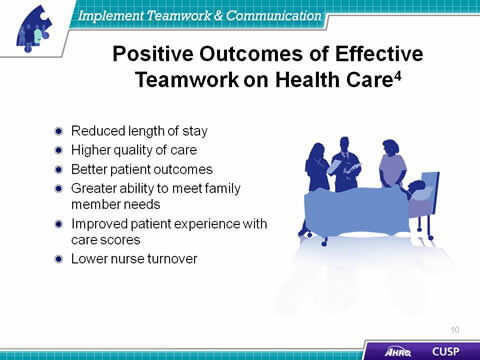 teamwork health care and team members Of the 12 studies, 4 demonstrated evidence of all five basic assumptions necessary for effective teamwork 42,48-49,55-56 the commonalities of these 4 studies included the following characteristics: chws were part of the primary care team and had relationships with primary care team members study participants were members of a community health.