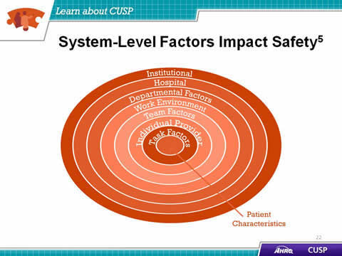 Image: Concentric circles show the layered factors of patient safety. Institutional factors, hospital factors, departmental factors, work environment factors, team factors, individual provider factors, task factors, and patient characteristics all have an effect on patient safety.