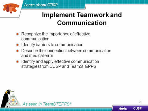 Text Description is below the image. Image: TeamSTEPPS logo and penguin.