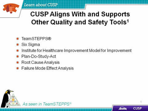 TeamSTEPPS. Six Sigma. Institute for Healthcare Improvement Model for Improvement. Plan-Do-Study-Act. Root Cause Analysis. Failure Mode Effect Analysis. Image: TeamSTEPPS logo and penguin.
