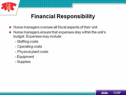 CUSP Toolkit The Role of the Nurse Manager Facilitator Notes – Nurse Responsibilities