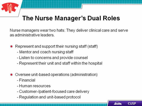 Cusp Toolkit, The Role Of The Nurse Manager, Facilitator Notes