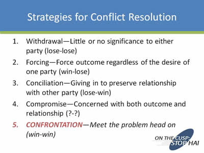 compromise as a conflict resolution strategy Conflict resolution in the workplace using conflict resolution strategies in the workplace will help do not postpone conflict resolution address the conflict.