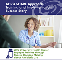 Man talks with doctor. AHRQ SHARE Approach Training and Implementation Success Story JMU University Health Center Engages Patients through Shared Decision Making about Antibiotic Use