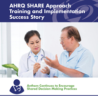 Man talks with doctor about medicine. AHRQ SHARE Approach Training and Implementation Success Story Anthem Continues to Encourage Shared Decision Making Practices