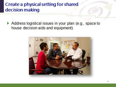 Slide 37: Create a physical setting for shared decision making. Address logistical issues in your plan (e.g., space to house decision aids and equipment).