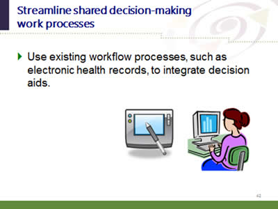 Slide 42: Streamline shared decision-making work processes. Use existing workflow processes, such as electronic health records, to integrate decision aids.