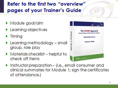Slide 10: Refer to the first two 'overview' pages of your Trainer's Guide. Module goal/aim. Learning objectives. Timing. Learning methodology – small group, role play. Materials checklist – helpful to check off items. Instructor preparation – (i.e., email consumer and clinical summaries for Module 1; sign the certificates of attendance.) (Image of SHARE Approach Trainer's Guide workbook.)