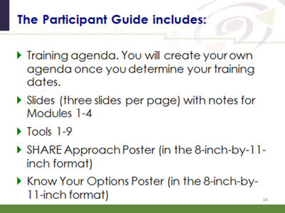 Slide 14: The Participant Guide includes: Training agenda. You will create your own agenda once you determine your training dates. Slides (three slides per page) with notes for Modules 1-4. Tools 1-9. SHARE Approach Poster (in the 8-inch-by-11-inch format). Know Your Options Poster (in the 8-inch-by-11-inch format).
