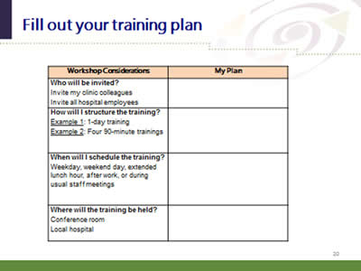 Slide 20: Fill out your training plan. (Image of the training plan worksheet.)
