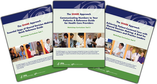 Covers from SHARE Approach workshop curriculum tools 1, 5, and 9