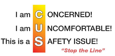 I am Concerned! I am Uncomfortable! This is a Safety Issue! Stop the Line!