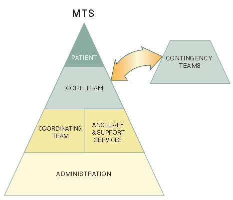 The team structure of the Multi-Team System For Patient Care. At the base of the system is administration. The next level is coordinating team and ancillary and support services. At the next level is the core team, which has an outside link to contingency teams. The patient is at the zenith of the system.