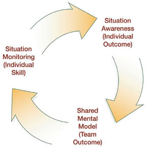 Circular situation monitoring process. Situation monitoring (individual skill) flows into situation awareness (individual outcome), which flows into shared mental model (team outcome), which flows back to situation monitoring (individual skill).