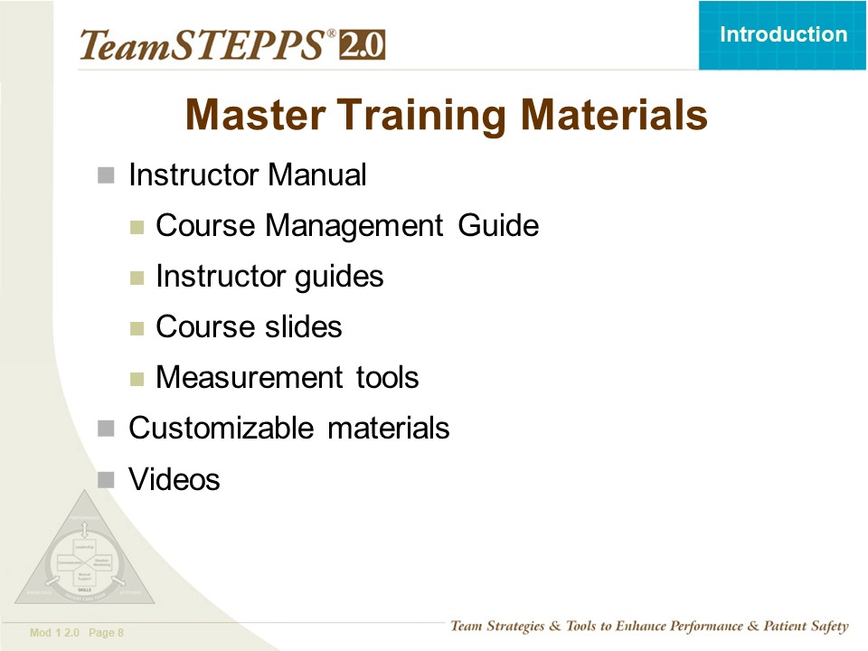 TeamSTEPPS Fundamentals Course: Module 1  Introduction
