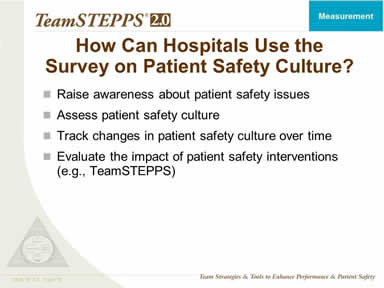 How Can Hospitals Use the Survey on Patient Safety Culture?