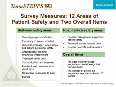 Survey Measures: 12 Areas of Patient Safety and Two Overall Items